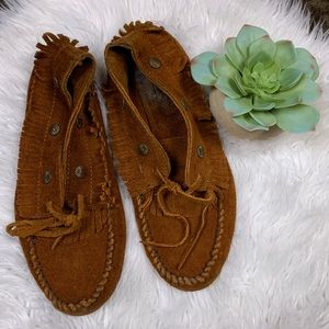Minnetonka Fringed Concho Ankle Bootie Moccasins